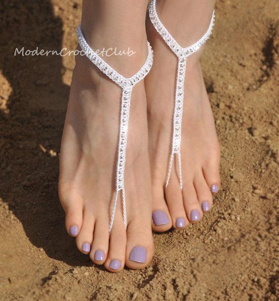 Simple Shiny Barefoot Sandals In Whitebeach Wedding Accessoriesbridal Foot Jewelrynude Shoebridesmaids Giftbeach Shoesbarefoot Sandles
