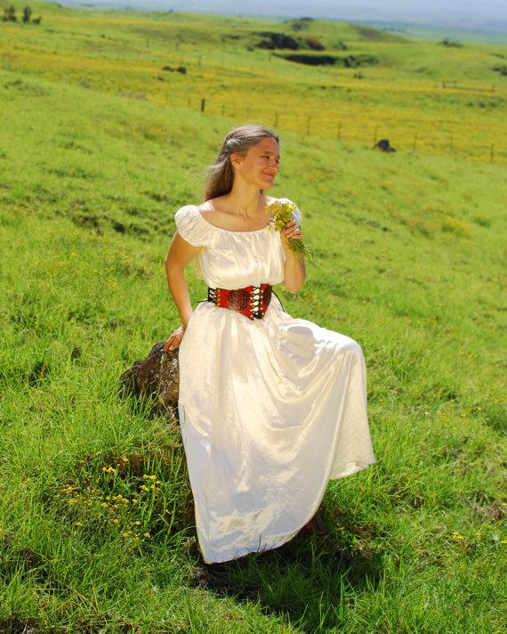 Свадьба - Boho Wedding Dress - Peasant Dress - Eco - Friendly Hemp Silk Charmeuse - Natural Creme Color