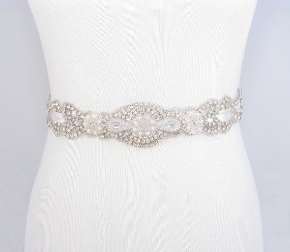 زفاف - Crystal Rhinestone Pearl Bridal Belt, Satin Ribbon Wedding Dress Sash, Beaded Bridal Belt, Jeweled Beaded Wedding Gown Sash, 35 Satin Colors