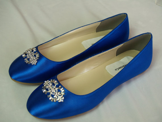 Wedding - Wedding Flat Royal Blue Shoes with Brooch - Royal Blue plus 200 colors