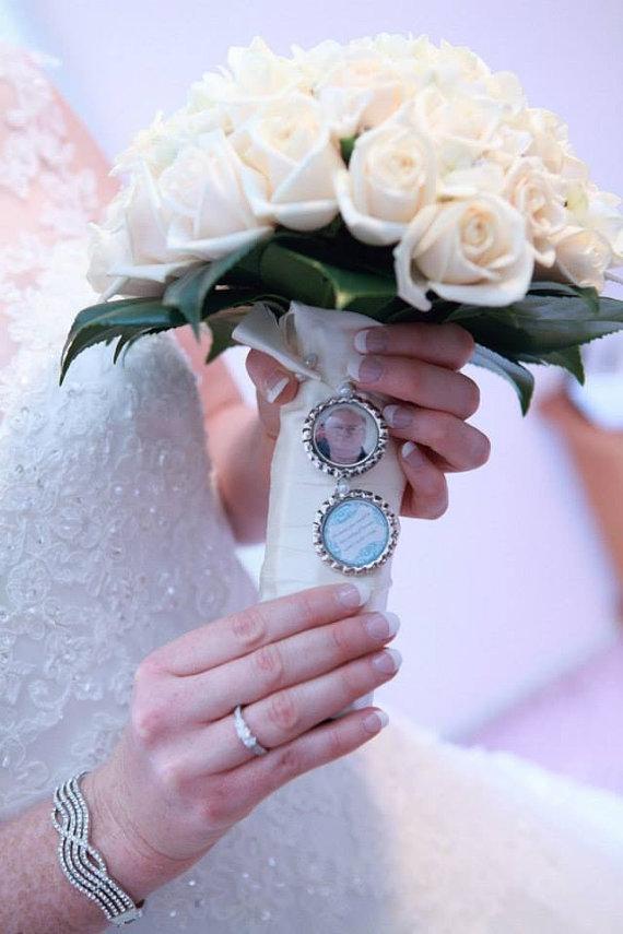 Mariage - Bridal Bouquet Charm, Memorial Charm, Custom Photo Memory Charm, Heaven Quote
