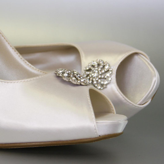 Свадьба - Wedding Shoes -- Ivory Peep Toe Wedding Shoes with Silver Rhinestone Adornment - CHOOSE YOUR COLOR