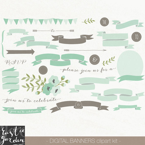 62 MINT and BROWN banner clipart. PNG scroll ribbon and floral digital clip art for wedding invitations. Clipart for small commercial use.