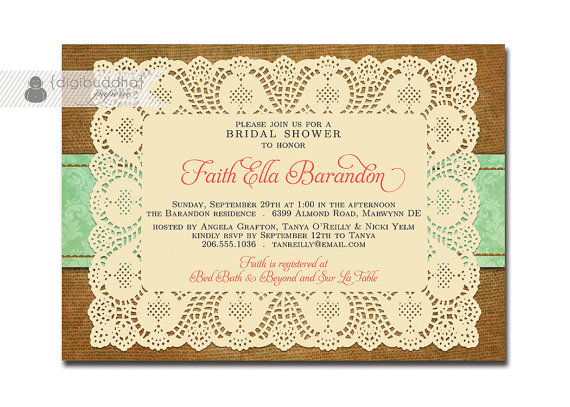 lace burlap bridal shower invitation mint damask shabby chic floral rustic doily coral brown free priority shipping or diy printable faith