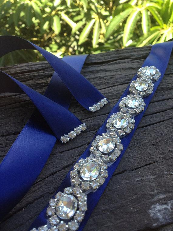 زفاف - Blue navy,Silver Wedding Belt Sash,Bridal Sash,Best seller sash ,Rhinestone Crystal Sash,Swarovski beaded sash,Silver Sash