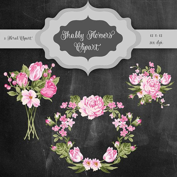 Mariage - Shabby Flowers Digital Clip Art - Vintage flower bouquet & frame transparent background for scrapbooking, wedding invitations