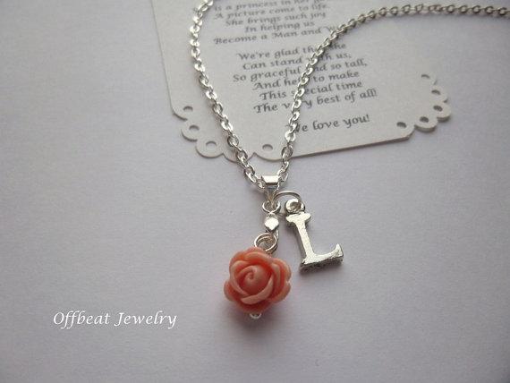 Hochzeit - Personalized Flower Girl Necklace, Personalized Bridesmaid Necklace, Personalized Bridesmaid Jewelry, Personalized Flower Girl Jewelry