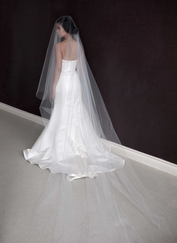 Aubrey Cathedral Length Drop Veil 110 Bridal Wedding Ivory White Tulle