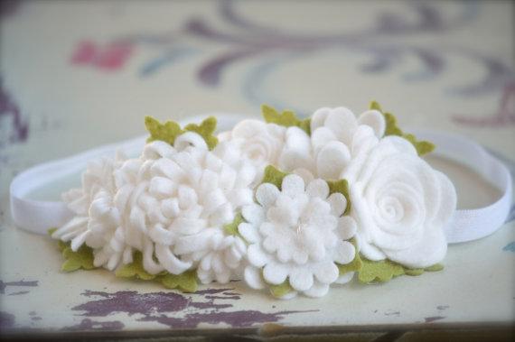 Hair felt flower garland headband in white 2239266 weddbook felt flower garland headband in white mightylinksfo