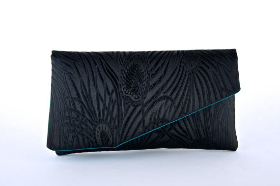 زفاف - Bridesmaid gift idea, EllenVintage Peacock Clutch with Silk lining, Wedding clutch, Bridesmaid clutch, Evening bag