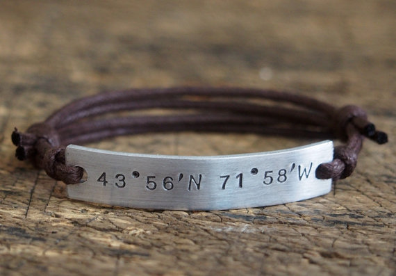 on we location bracelet no engrave bar coordinate customized message bracelets coordinates both sides or can bargains shop for charge couple longitude name date etsy extra anything custom latitude