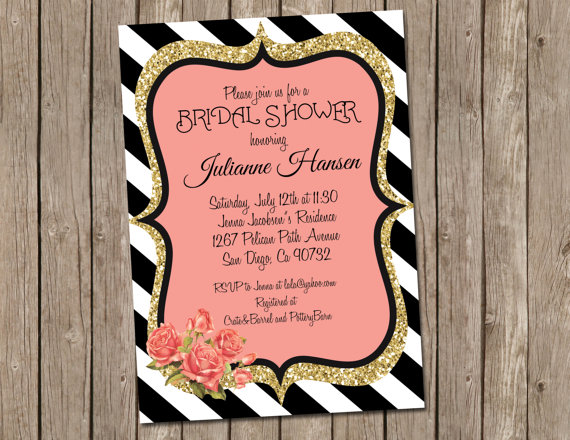 Black,White, Striped, Coral, Pink, Gold, Glitter, Bridal Shower, Wedding  Invitation, Digital File, Printable