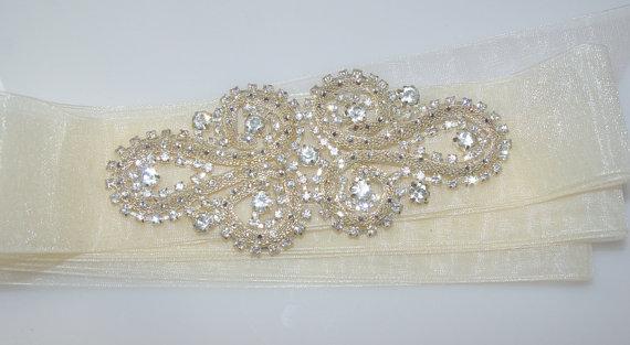 Wedding - Ivory Austrian Crystal Bridal Sash, Bridal Belt, Crystal Sash, Crystal Belt, Wedding Dress Sash
