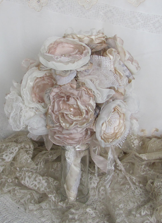 Mariage - Burlap Wedding Bouquet Vintage Inspired  Ivory and Pale Pink by Burlap And Bling Design Studio