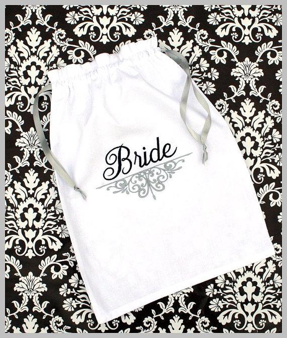 Monogrammed Lingerie Bag - Personalized - Shoe Bag - Bride ...