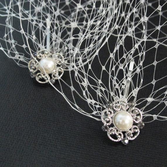 Свадьба - Bandeau Style Veil Blusher 9 inch French Net Veil Ivory Wedding Bridal Birdcage Veil