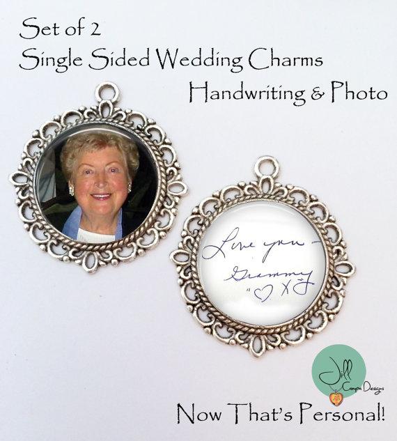 Wedding - Handwriting and Photo Wedding Bouquet Charm - SET of 2 photo wedding bouquet charms - Handwriting Bridal Charm - Bridal Bouquet Charm set