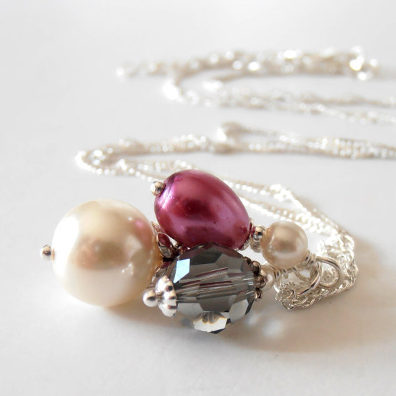 Mariage - Pearl and Crystal Bead Cluster Bridesmaid Necklaces, Plum and Gray Beaded Pendant, Sangria Wedding Jewelry Sets, Bridal Party Gift Idea