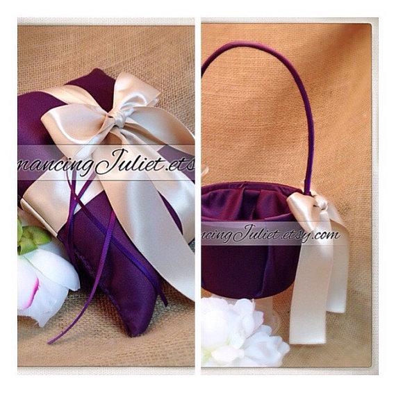 Custom Colors Flower Girl Basket And Romantic Satin Ring Bearer ...
