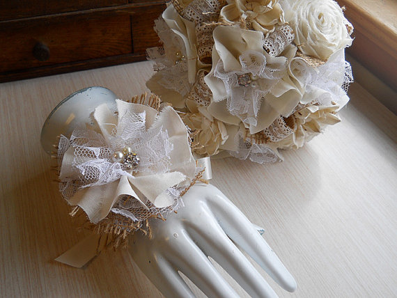 Rustic Shabby Chic Ivory Wedding Bouquet Wrist Corage Sola Flowers Fabric Roses Burlap Lace Rhinestones Pearls Made To Order