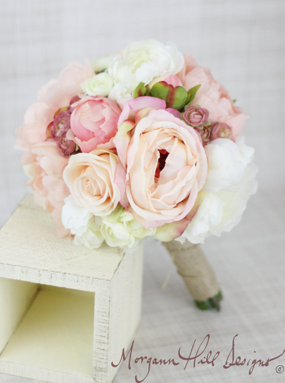 Mariage - Silk Bridesmaid Bouquet Peony Peonies Roses Ranunculus Country Wedding Lace (Item Number 130111)