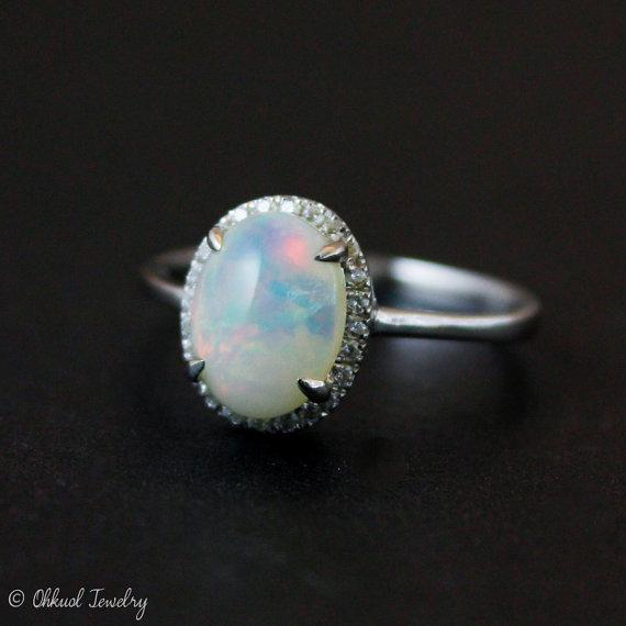 Wedding - Halo Diamond Australian Opal Ring - Silver Opal Ring - Engagement Rings - Pave Diamond