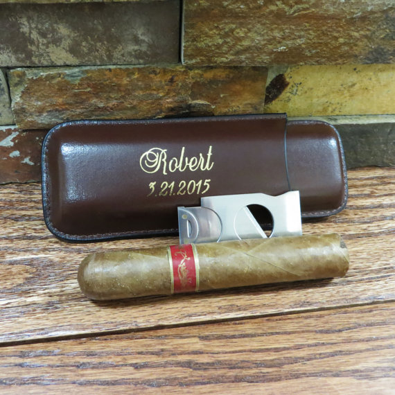 Mariage - Personalized Cigar Case with Cutter - Groomsmen gift - Best Man -Gifts for Men
