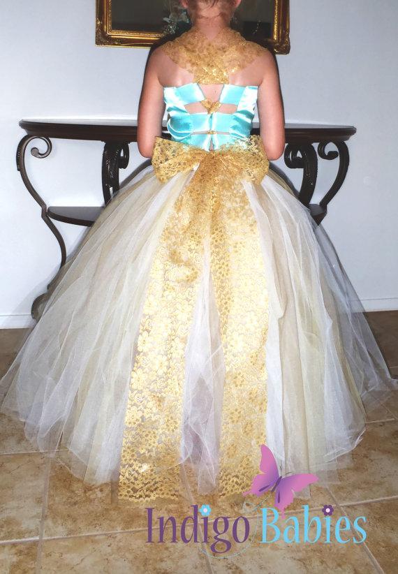 زفاف - Flower Girl Dress, Weddings, Tutu Dress, Ivory Tutu, Antique Gold Lace, Mint Satin Top, Aqua Top, White Reception, Bridesmaids Tutu, Wedding