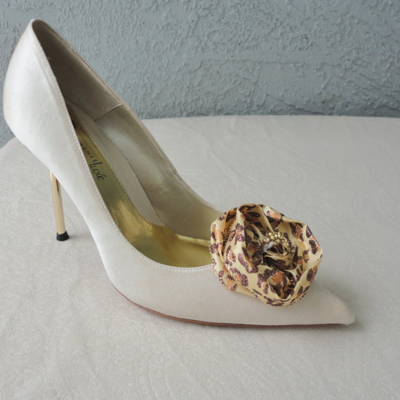 Wedding - Wedding Bridal Leopard Print And Glitter Rose Shoe Clips
