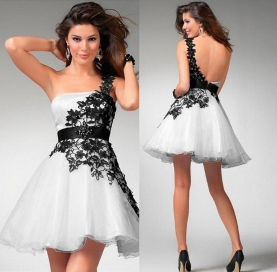 Wedding - Hot Sale 2015 New Sexy Bridesmaid Dresses Ball Gowns One Shoulder Mini Beaded White Black Lace Beads Sash Organza Simple Sexy Party Dresses Online with $78.33/Piece on Hjklp88's Store