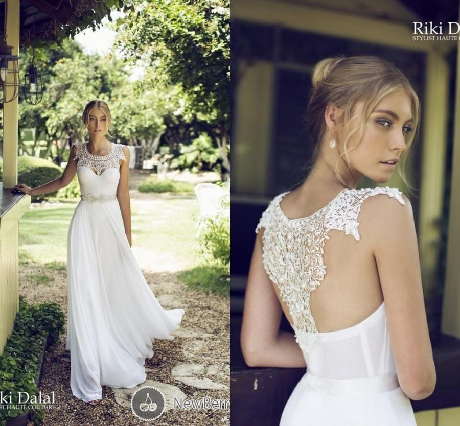 2017 Bridal Dress A Line Scoop Chiffon Lace Garden Wedding Gown Liques Pearls Beads Backless Sleeveless Sweep Train By Riki Dalal 96 76