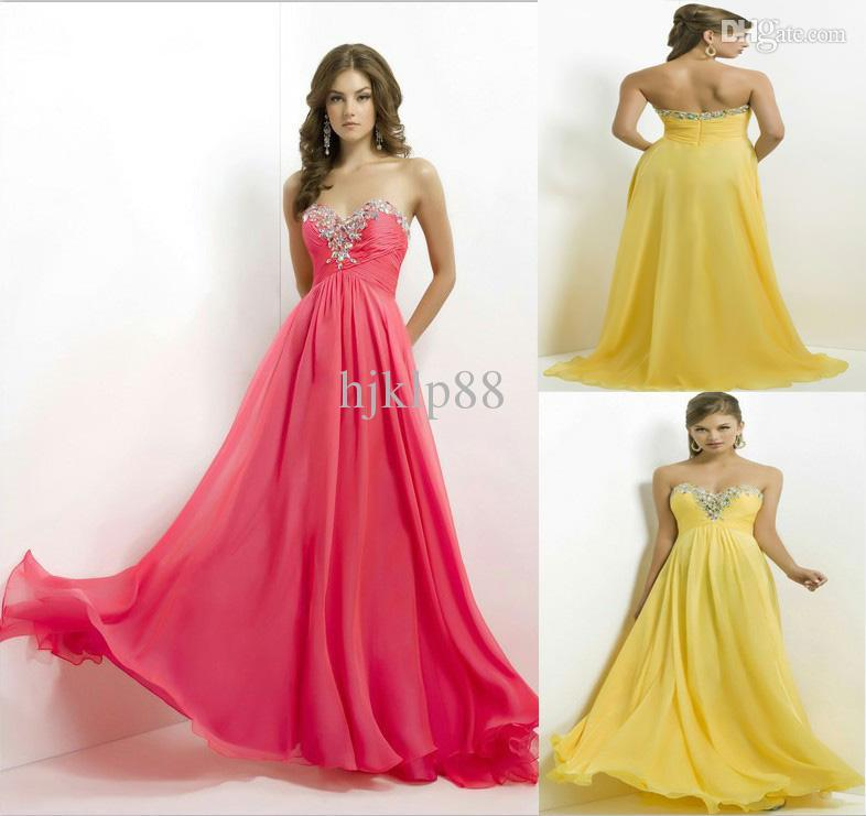 Wedding - 2014 New Arrival Sexy Strapless Sweetheart Jewels Crystal Neckline Blush Prom Dress Empire Waist Chiffon Floor Long Evening Dresses 9717 Online with $77.54/Piece on Hjklp88's Store