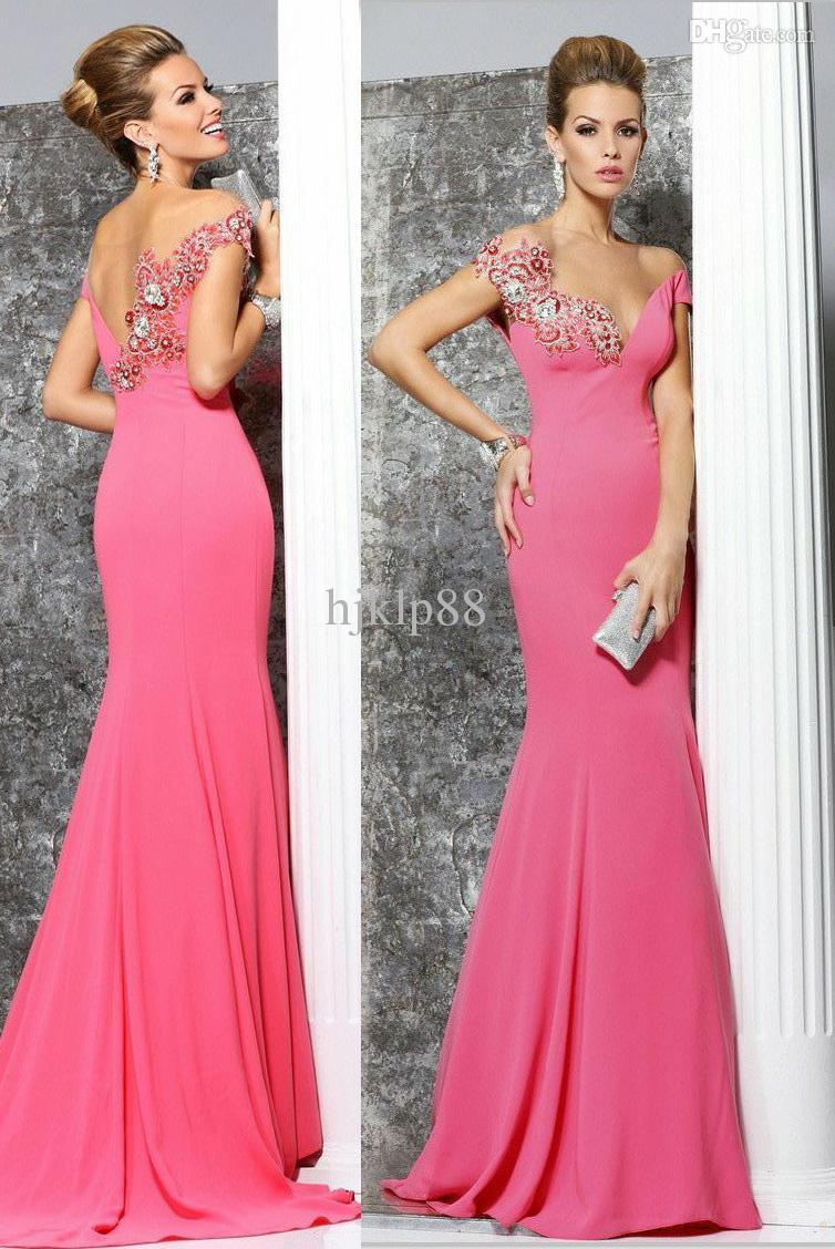 ffd181429f1 Tarik Ediz Backless Evening Dresses Off the Shoulder Trumpet Gown Floor  Length Mermaid Embellished Crystal Beaded Party Gown Sexy Prom Dress Online  with ...