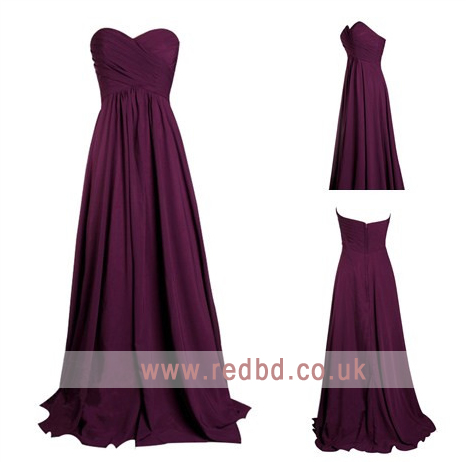 Hochzeit - Chiffon Long Burgundy Bridesmaid Dress