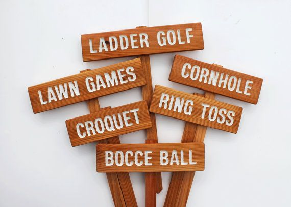 Свадьба - YARD GAME Signs, Party Signs, Wedding Game Sign, Family Reunion, BBQ , Bocce Ball, Croquet, Ring Toss, Cornhole, Sack Race, Bowling