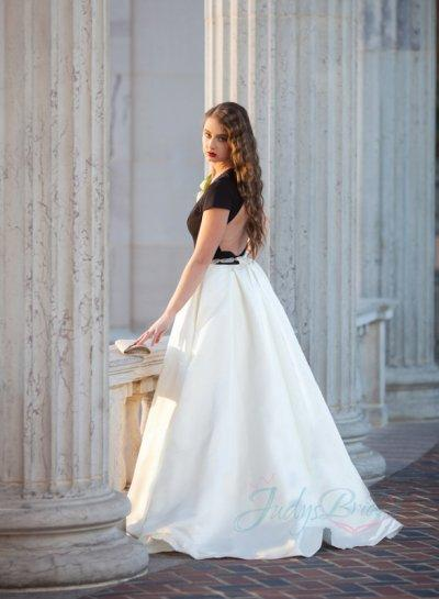 Wedding - JOL262 modern chic black ivory keyhole back wedding dress
