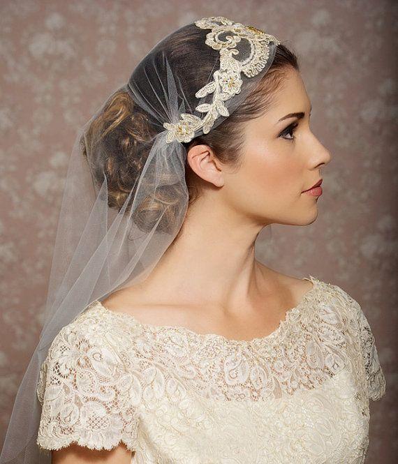 Wedding - Juliet Cap Veil Gold Lace Veil Lace Bridal Cap Tulle Veil Juliet Veil Floral Art Deco Veil - Made To Order - ODETTE