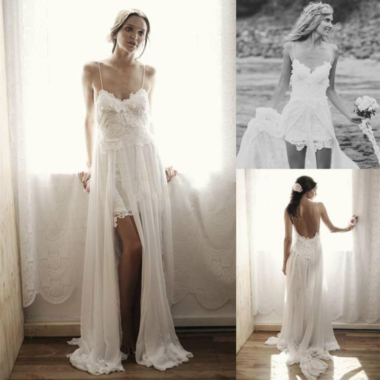 2014 Amazing Bohemian Wedding Dresses A Line Beach Bridal