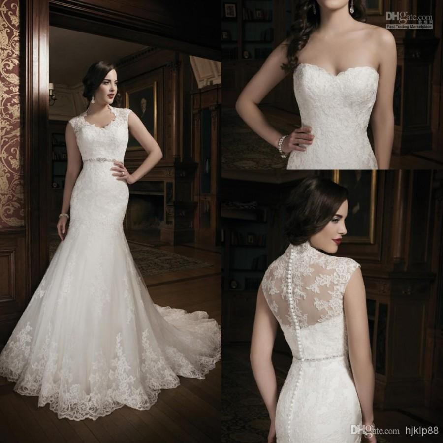 2014 new collection mermaid lace ivory wedding dress for Heart shaped mermaid wedding dresses
