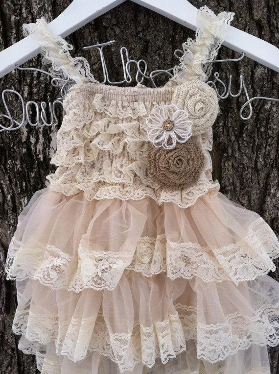 Wedding - Rustic Flower Girl Dress-Lace Pettidress -Country Wedding-Farm Wedding-Shabby Chic Flower Girl Dress-Flower Girl