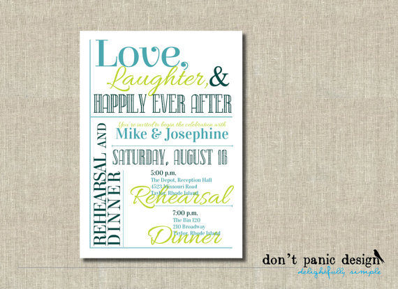 Happily Ever After Wedding Invitations: Printable Rehearsal Dinner Invitation Love, Laughter