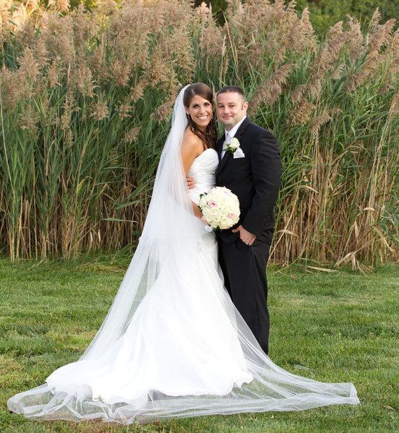 زفاف - 90 inches, Chapel length - The Chelsea veil -  2 tier circular/drop veil, chapel veil, bridal veil, wedding veil with blusher