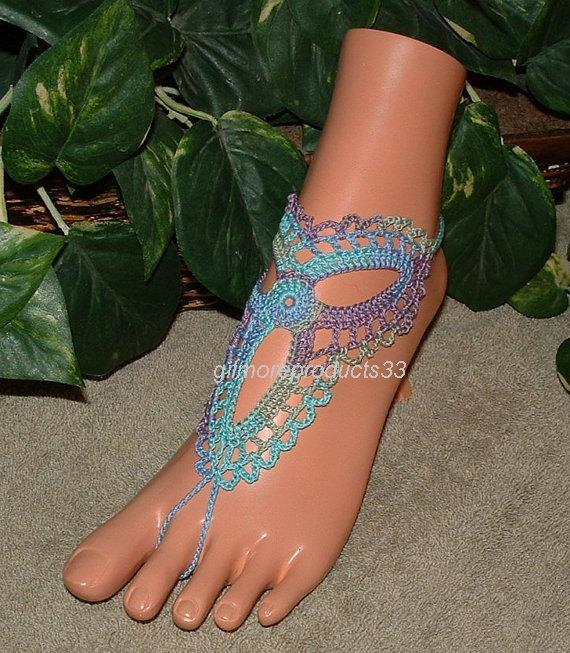 Mariage - Crochet barefoot sandals, beach barefoot sandals, nude shoes, foot jewelry, beach wedding, hippie, yoga, gypsy, accessories, beach sandals
