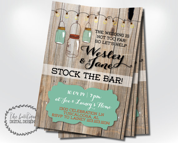 Stock The Bar Invitation Housewarming Rustic On Rustic Country Check
