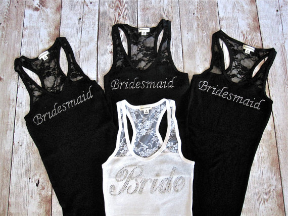 4 Bridesmaid Tank Top Lace Tanks Bride Shirt Maid Of Honor Gift