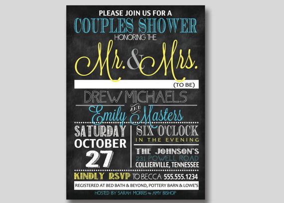 Mariage - Chalkboard Typography Bridal Wedding Couples Shower Invitation - Custom DIY Printable