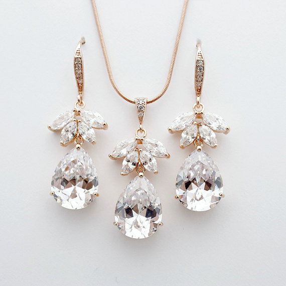 Rose Gold Set Bridal Jewelry Cubic Zirconia Earring And Necklace Wedding Crystal