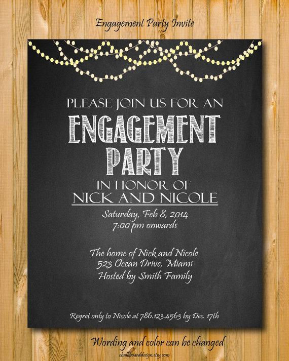 Hochzeit - Printable engagement invitation, Engagement Party invitation, custom chalkboard invite