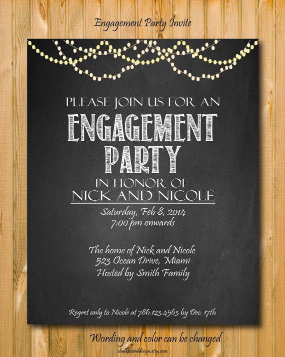 Hochzeit - Printable engagement invitation, Engagement Party invitation, custom chalkboard invite