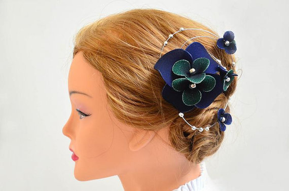 Navy blue fascinator Wedding black fascinator Black headpiece Navy blue  hair flower Wedding hair accessories Hair piece 5e9f04a86eb